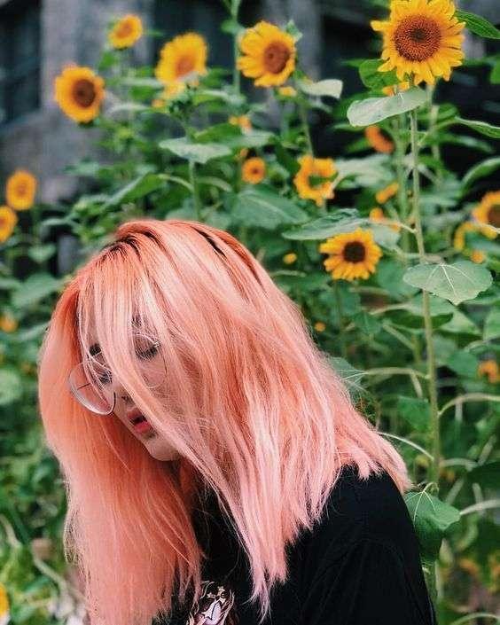 tóc pastel cam đào