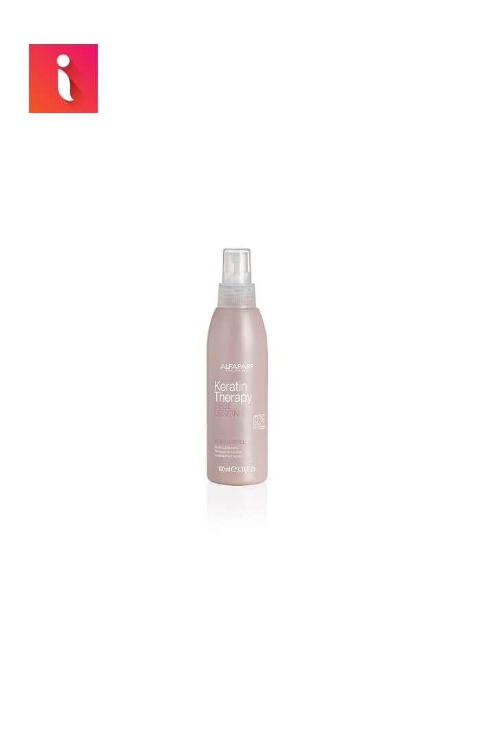 Xịt dưỡng Keratin duy trì tóc suôn mượt thuộc dòng sản phẩm liệu trình suôn mượt Keratin Therapy Lisse Design của nhãn hàng Alfaparf.