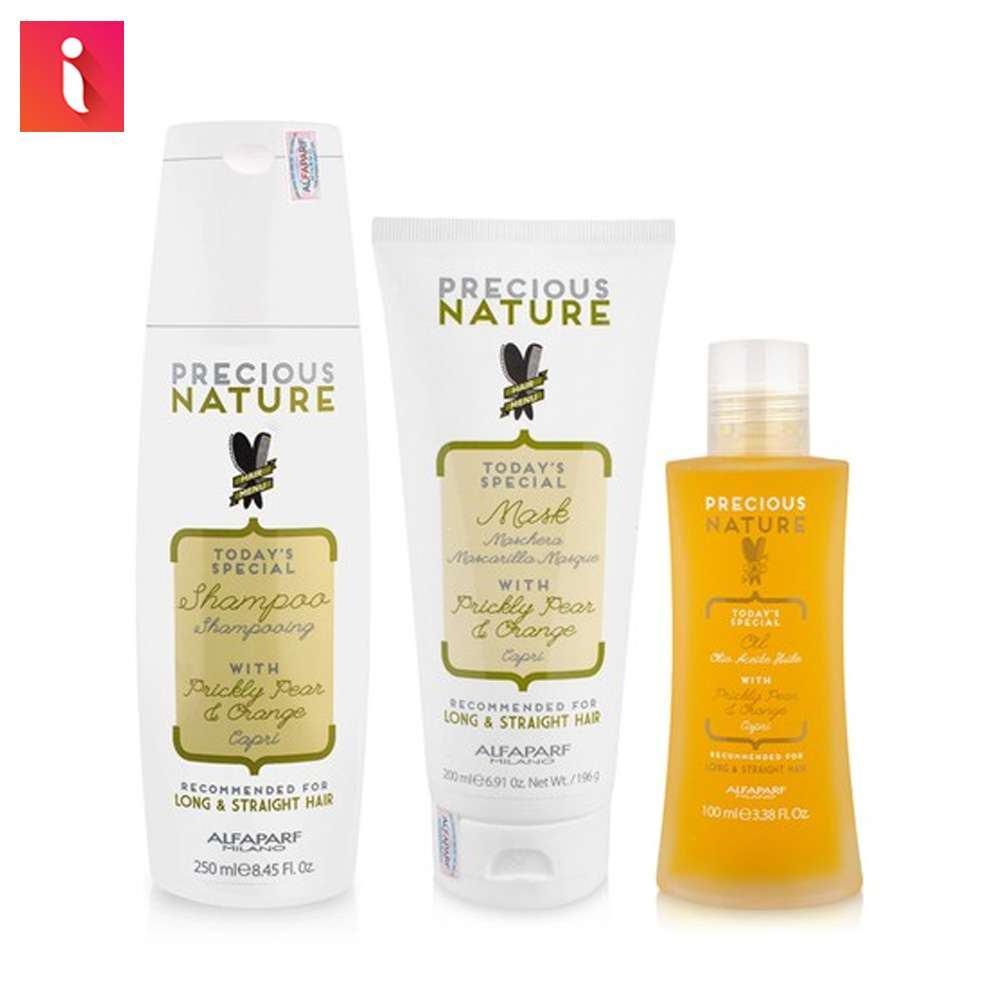 Chọn bộ sản phẩm Precious Nature cho tóc dài và thẳng gồm dầu gội, mặt nạ và tinh dầu